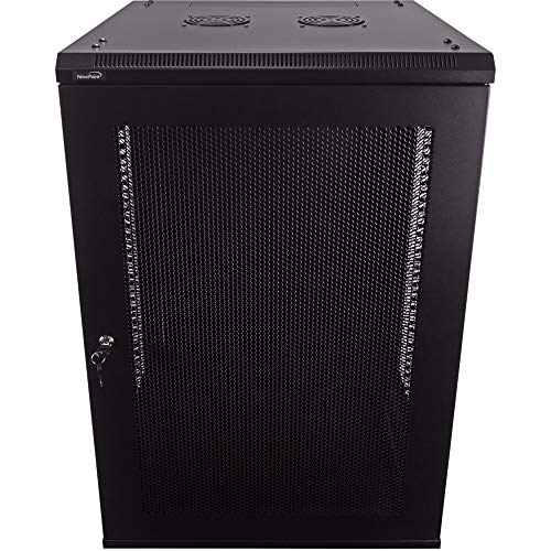 NavePoint 18U Deluxe IT Wallmount Cabinet Enclosure 19-Inch Server Network Rack with Locking Perforated Door 24-Inches Deep Black