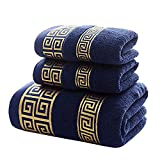 XHSP 100% Cotton Highly Absorbent Embroidered Towels 3-Piece Towel Set Hotel Bath Towel, 1 Bath Towels, 2 Hand Towels Extra Think Beach Bath Towels (Blue)