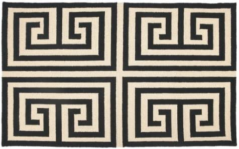 Trina Turk 3 by 5-Feet Hook Rug, Greek Key, Black