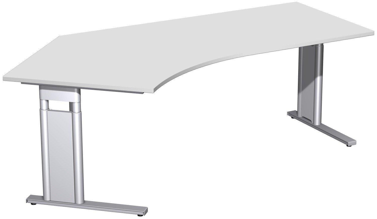 Geramöbel Schreibtisch 135° links höhenverstellbar, C Fuß Blende optional, 2166x1130x680-820, Lichtgrau/Silber