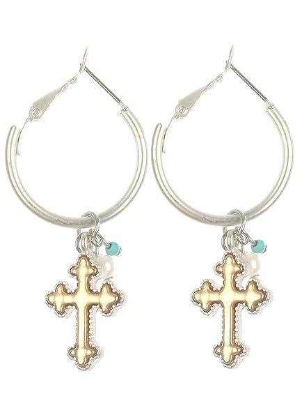 1b261988d Amazon.com: Destinee's bohemian CROSS CHARM MINI HOOP EARRING: Jewelry
