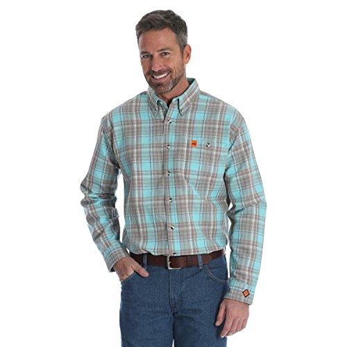 - Wrangler Men's Flame Resistant Plaid Shirt Shirt, Turquoise Plaid, L