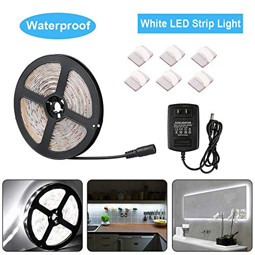 Flexible White LED Strip Lights Kit 5M/16.4Ft LED Rope Lights 300 LEDs 4000K Waterproof Fairy Light, White Color String Lights 12V Power Supply for DIY Bedroom Home Bar Party