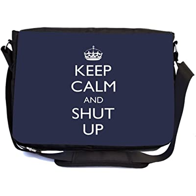 Rikki Knight Keep Calm and Shut Up Blue Color Design Multifunctional Messenger Bag - School Bag - Laptop Bag - with padded insert for School or Work - Includes UKBK Premium coin Purse