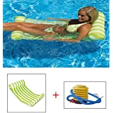 HY-MS Swimming Pool Beach Floating Water Hammock Lounger Inflatable Floating Bed Beach with 1 Inflator Pump (Light Green)