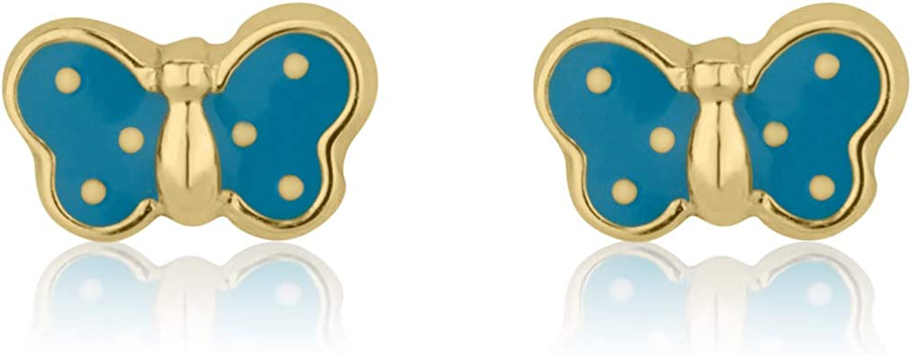14K Fine Yellow Gold Enamel Butterfly Screw Back Stud Earrings for Girls Kids Children Gift
