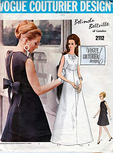 (Vogue Couturier Design Sewing Pattern 2112 c1969 Belinda Bellville Misses' One-Piece Evening, Bridal Dress, Size 14)