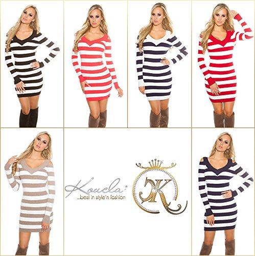 KouCla - Vestido - para mujer Cappuccino/Weiß