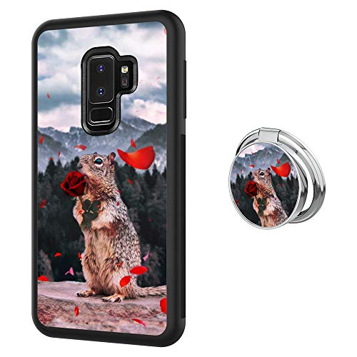 Designed Squirrel Samsung Galaxy S9 Plus Case with Buckle Ring 360¡ã Rotatable Silvery Durable Ring Buckle, TPU Black Antiskid Tread Phone Case for Samsung Galaxy S9 Plus