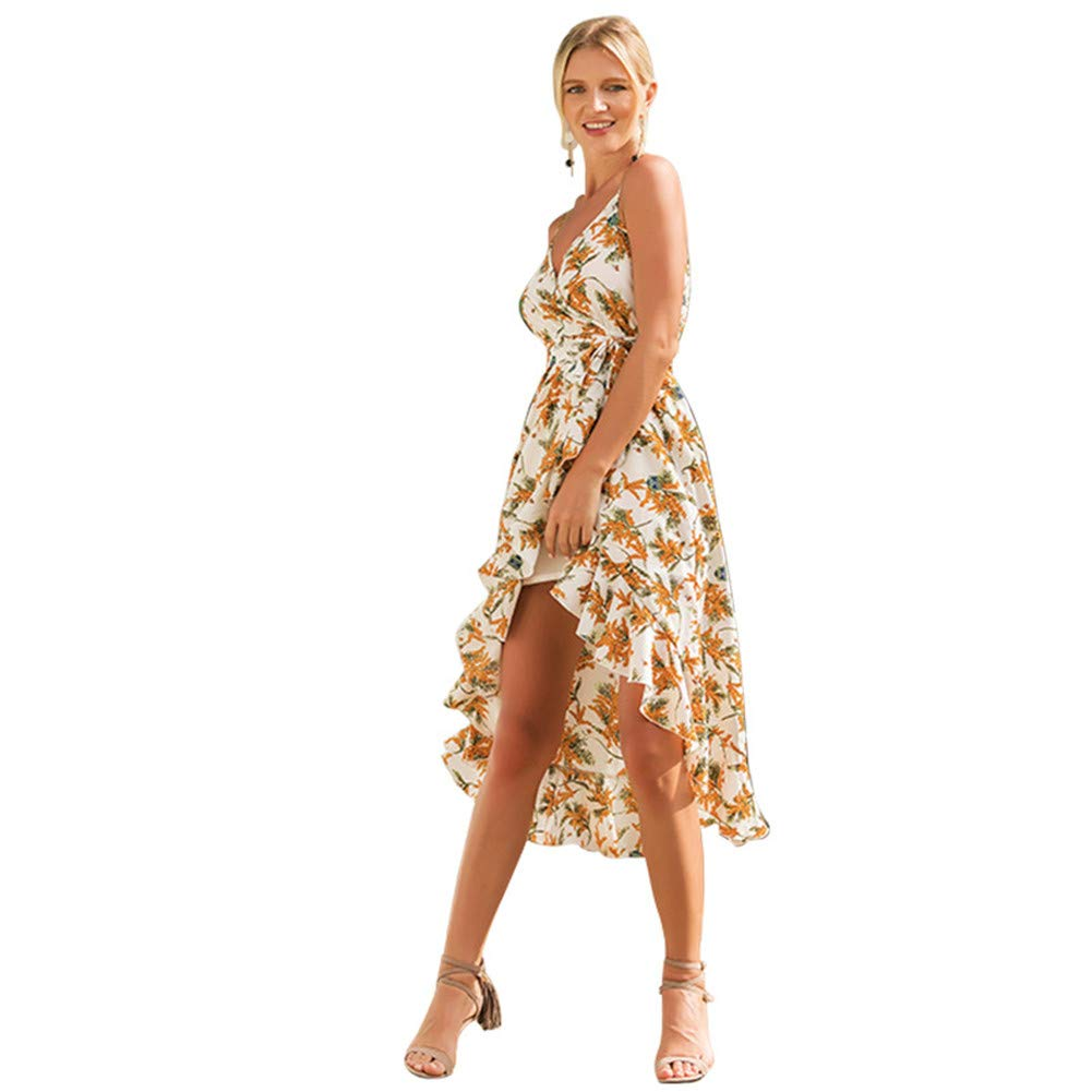 Long Skirt Spring and Summer Printing Large Size Temperament Women's Sling Printing Vacation Dress Pattern Sexy Simple Slim VNeck