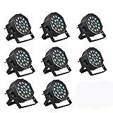 8 Piece Up-Lighting - Full RGB Color Mixing LED Flat Par Can - 18 LEDs per ...