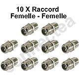 10 x Raccord coupleur connecteur fiche F Femelle - F Femelle Pour câble coaxial Antenne et Parabole Satellite - TNT - SAT - Opensys