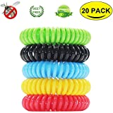 OTBBA 20 Pack Mosquito Repellent Bracelet - 100% Natural Plant-Based Oil, Deet-Free & Non-Toxic Insect Mosquito Repellent Wristbands for Kids, Adults & Pets, Waterproof Travel Bands Last 350Hrs