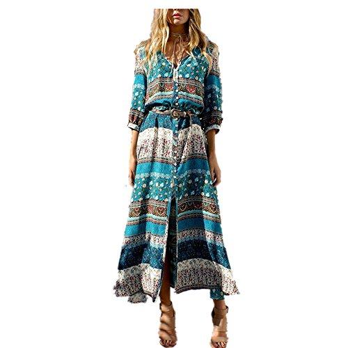 Vestido Maxi Largo de Boho del Verano de Las Mujeres Vestido de Fiesta de Tarde de la Playa de la Fiesta de la Túnica Floral Flojo Ocasional del Cuello V: ...