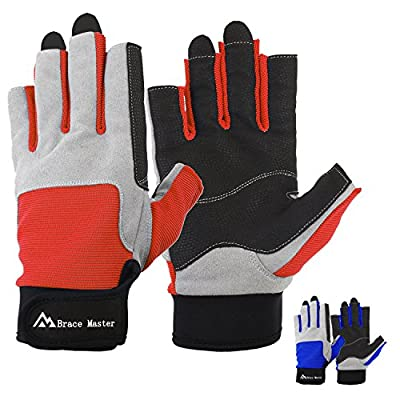 Brace Master Sailing Gloves Men Women for Sailing, Fishing, Boating, Kayaking, Surfing, Canoe Padding, Dinghy and Water Sports, Leather in Palm to Enhance Gripping, 3/4 Finger Design