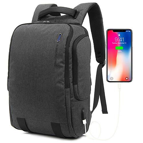 KINGSLONG 17 Inch Laptop Backpack Men Women Professional Slim Business Travel Computer Backpack with USB Charging Port Water Resistant Student School College Work Outdoor Laptop Bag(Dark Gray)