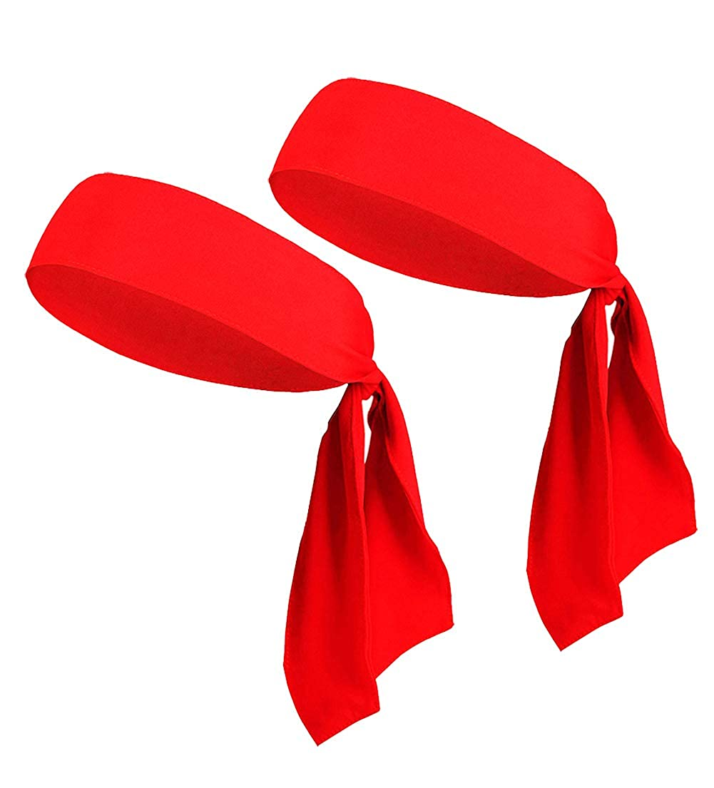 ヘッドタイヘッドバンド メンズ レディース キッズ ガールズ ボーイズ スポーツヘッドバンド バルク海賊バンダナ ヘッドスカーフ  2pack Red B07JNR5TH2