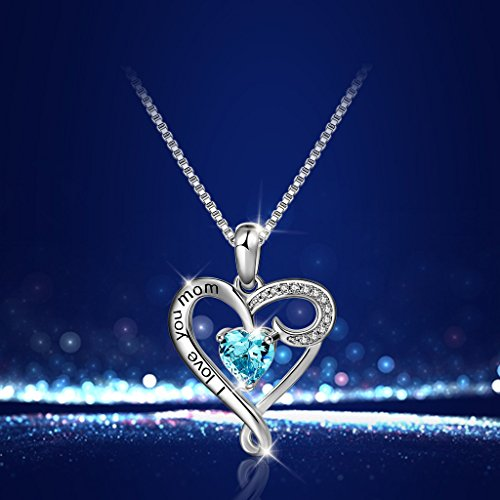 Mother's Birthday Gift''I Love You Mom'' S925 Sterling Silver Heart Pendant Necklace (I Love You Mom-Blue Heart) by Long Way (Image #2)