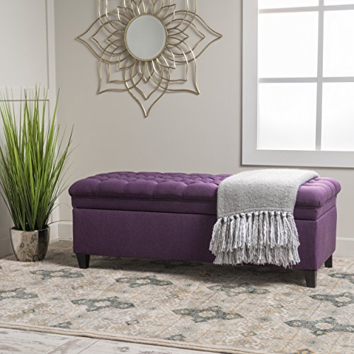 Laguna Tufted Fabric Rectangular Storage Ottoman, Modern Bench for Home Organization, Purple