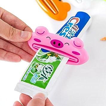icocol caliente baño casa soporte Rolling Tubo exprimidor fácil de dibujos animados bebé pasta de dientes dispensertoothpaste exprimidor buen regalo para ...