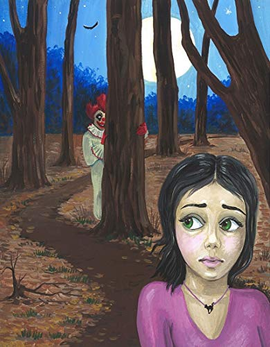 11X14 PRINT OF PAINTING RYTA FINE WALL ART CREEPY CLOWN HALLOWEEN WOODS FOREST FEAR HORROR SCARY FRIGHTENING
