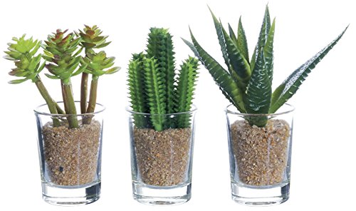 Set of 3 Artificial Potted Cacti - 4 inches high