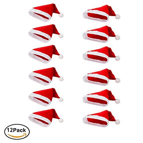 Pack of 12 Non-woven cloth Santa Hat Christmas Caps for for Adults and Children Christmas