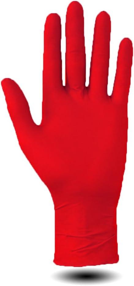 N//A Lot de 100 gants jetables en nitrile sans poudre Rose rouge