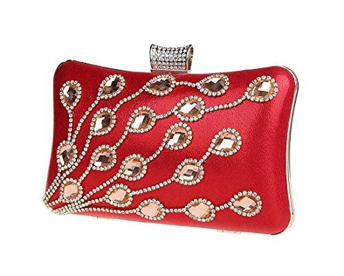 KAXIDY Mujer Bolso de Embrague Bodas Fiesta Boda Bolso de Embrague Bolso de Noche Rojo