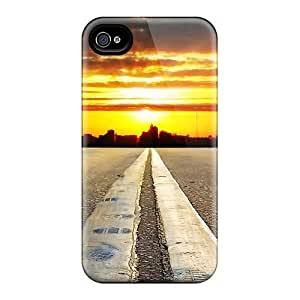 Case Cover Double Line Sunset/ Fashionable Case For Iphone 4/4s