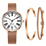 MAMONA Women's Mesh Rose Gold Strap Watch with White Dial Wrist Watch Gift Set L3890RGGT