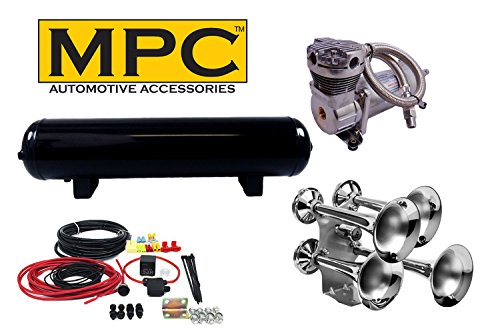 MPC Giant Quad Train Horn Kit for Trucks & Cars. [Complete Kit] 4 Chrome Train Horn Trumpets, 12 volt 200 PSI Air System with 100% Duty Cycle Air Compressor & 4 Gal Tank & Fittings - Real Deal! (Compressor Real)