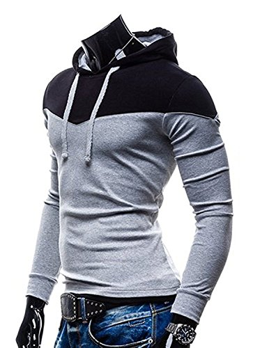 Rising On Comfortable Men's Color Block Hooded Sweatshirt High Collar Pullover Hoodies Grey 22XL (Acne Skinny Jeans)