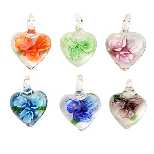 Glass Necklace Lot Heart Floral Glow in the Dark Pendant 6 Pieces