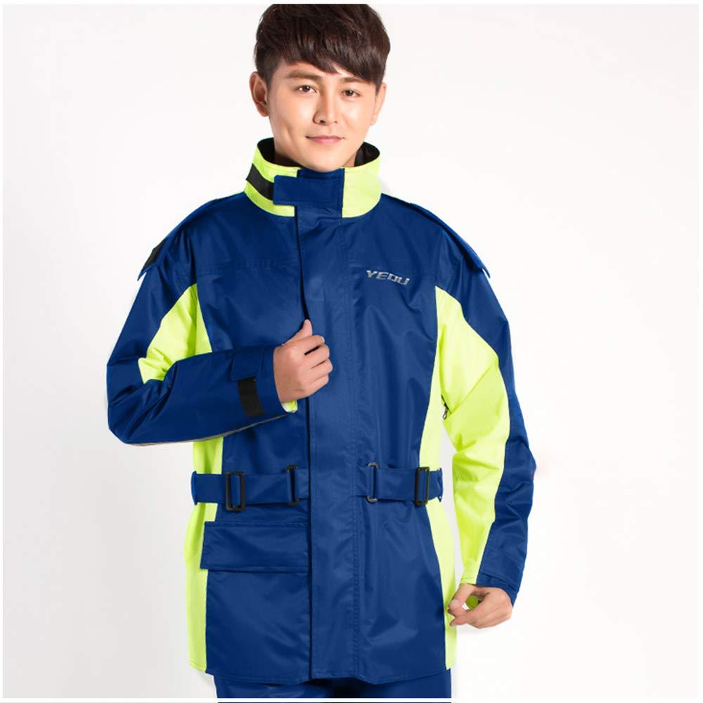 Geyao Raincoat Regen Hosen Anzug männlich Erwachsenen Split Takeaway Elektromotorrad Reiten wasserdicht Ganzkörper Regenmantel blau und gelb
