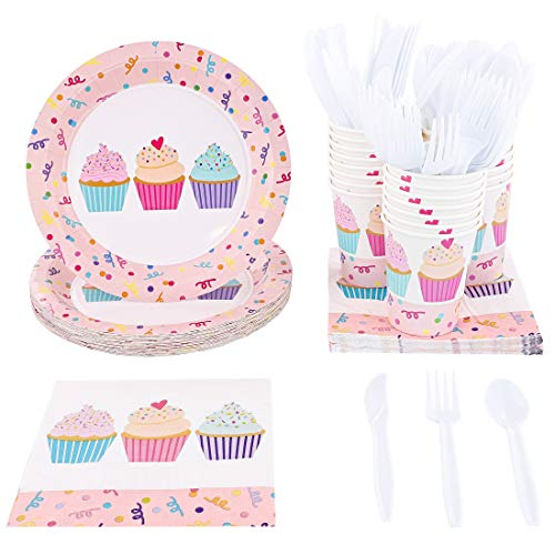 Juvale Pink Cupcakes Birthday Party Supplies - Plates, Knives, Spoons, Forks, Napkins, and Cups, Serves 24 -