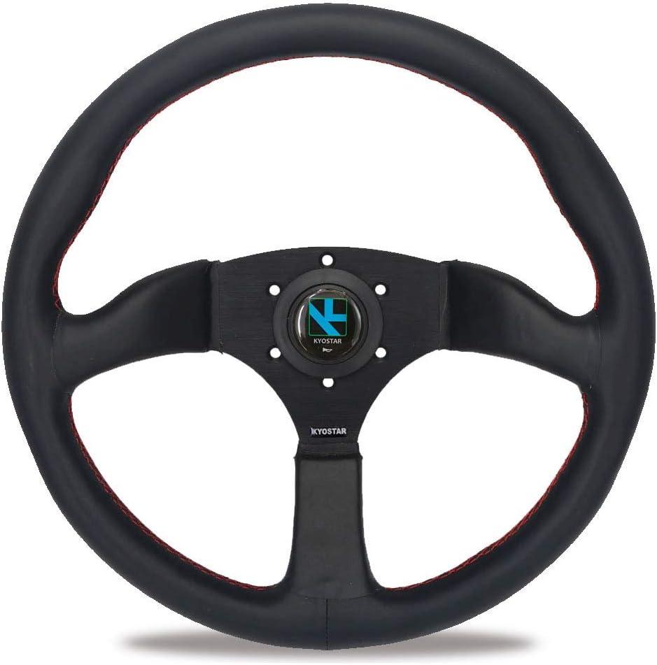 Car Steering Wheel 350mm 14inch Frame PU Leather 6-Bolt Car Racing Steering Wheel Universal Aluminum W//Horn Automotive Steering Wheel black
