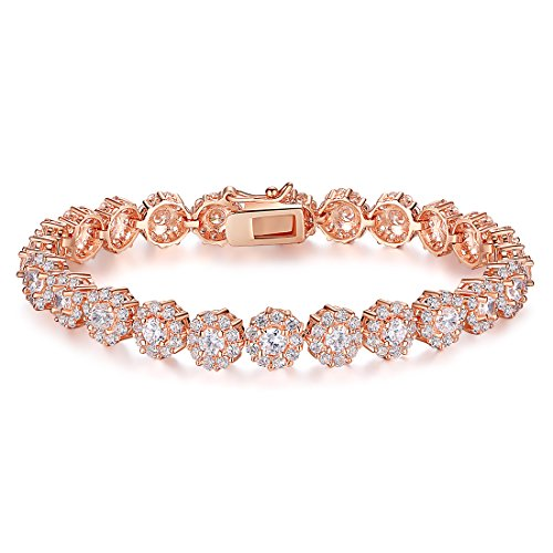 BAMOER Classic Luxury Rose Gold Plated Bracelet with Sparkling White Cubic Zirconia Stones for Women Grils Perfect Christmas Gift for Her 7.5 Inches (Rose Gold Plated Gold Bracelet)