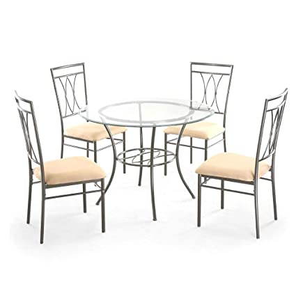Outstanding Amazon Com Tsr Metal Dining Table Set Dining Table With 4 Unemploymentrelief Wooden Chair Designs For Living Room Unemploymentrelieforg