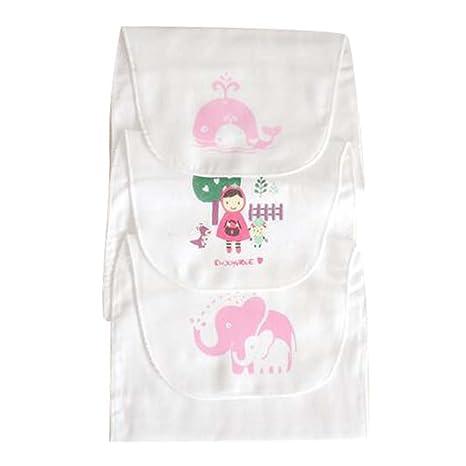 Cute Washcloth Mat Set de 3 toallas de gasa de algodón suave Baby Sweat toallas absorbentes