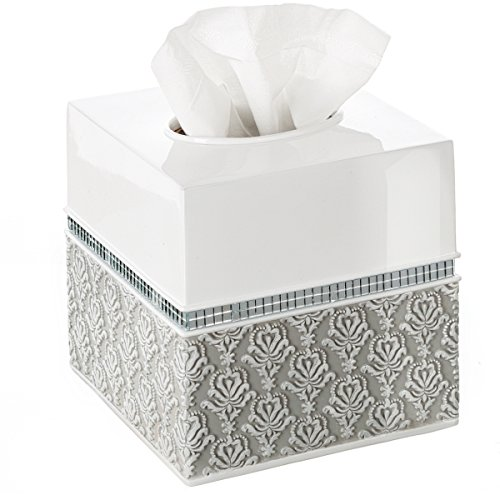 Creative Scents Mirror Damask Square Tissue Box Cover - Decorative Bathroom Tissues Paper Holder, Modern Napkins Container, Bottom Slider, For Cute Elegant Bathroom Decor (White & Gray) (Set Toilet Paper Square Holder)