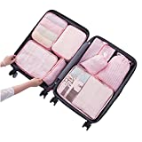 Bagsmall Portable Folding Packing Cubes Travel Luggage Packing Organizers with Laundry Bags 8set (Pink Stripes)
