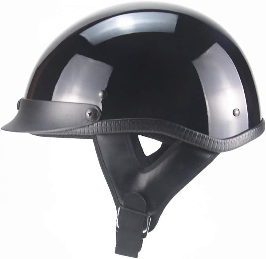 Open Face Adult Bike Helmet German Style Bicycle Cruiser Chopper Scooter Travel Helmet for Men And Women,Gloss Black,M Xiaotian Retro Motorcycle Half Helmet