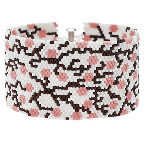 Beadaholique Peyote Bracelet - Cherry Blossom in White - Exc