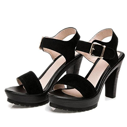 Leather 39 Summer Black Matte With Thick Shoes Thick Girls Sandals Women YC black Table High Waterproof L UgnaqCY