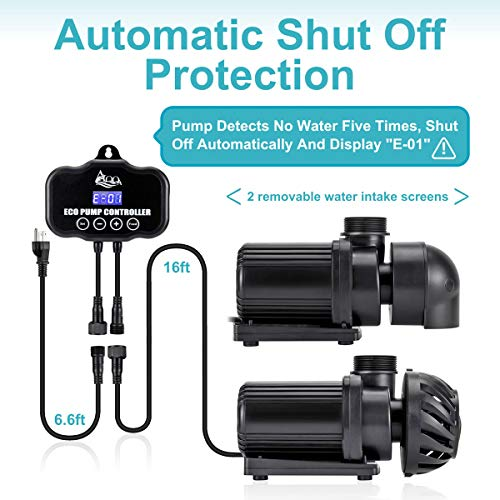 AQQA Controllable AC Water Pump,Circulation Make Wave/Feed Mode/20 Options Flow Adjustable Multifunction Submersible or External Powerful Return Pump for Saltwater & Freshwater Fish Tank(30W 800GPH)