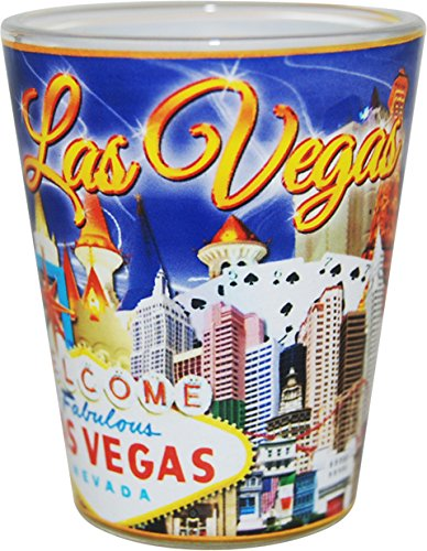 Las Vegas Nevada Blue and Gold Letters Collage Shot Glass ctm