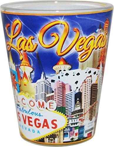 Las Vegas Nevada Blue and Gold Letters Collage Shot Glass - Vegas Glasses Las