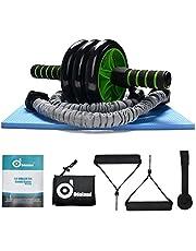 Nueva 3-en-1 AB Roller Kit - Mejor ODOLAND AB Roller Pro con el cojín de la rodilla resistente Banda Los mangos antideslizantes y bolsa de almacenamiento -Perfect ejercicio de entrenamiento Equipo