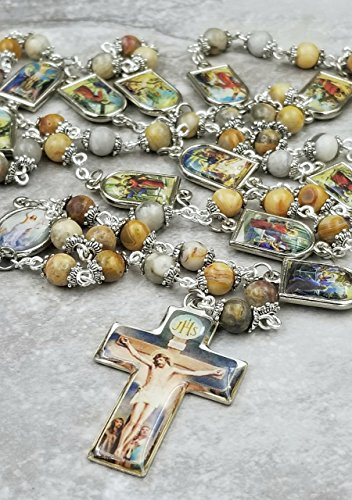 Easter Stations of the Cross Jesus on the Cross Crazy Lace Agate Handcrafted Gemstone Rosary Chaplet